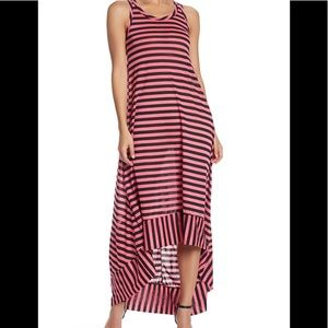 Go Couture Striped Racerback High/low Maxi Dress